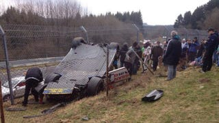 Nissan GT-R Flips Into Crowd At