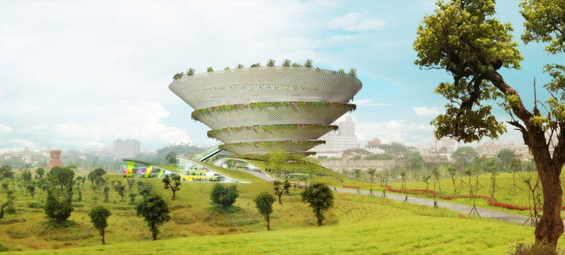 "Amazing curving ""Spiral Garden Museum"" could have been Taipei's mothership"