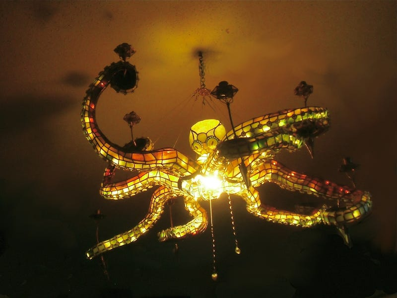 Tentacular stained glass octopus chandelier would light up any room