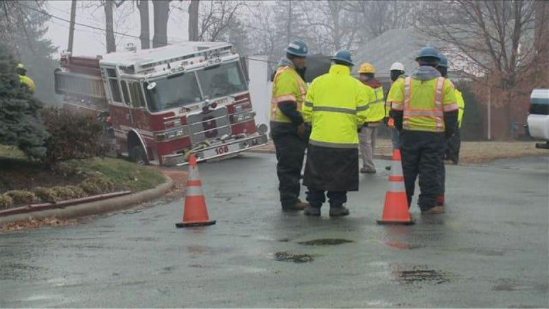 Fat-Ass Fire Truck Sinks Into Pavement