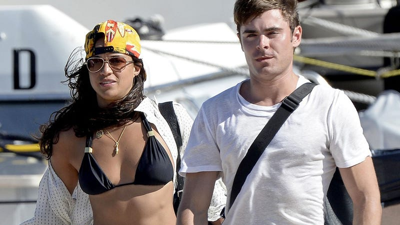 Behold: Zac Efron and Michelle Rodriguez Tenderly Kissing on a Boat