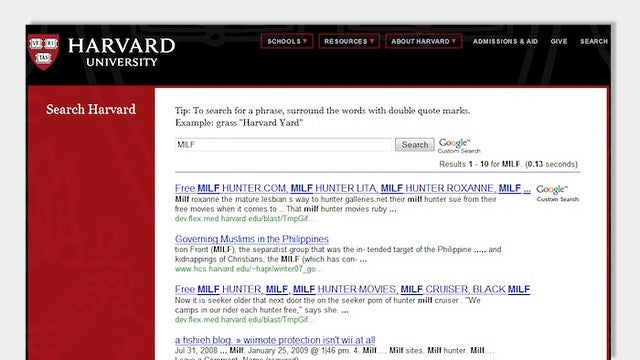 Harvard.edu: Your Source for MILFs and Barely Legal Blow Jobs