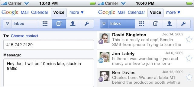 Google Voice Arrives on iPhones with HTML5-Powered Webapp