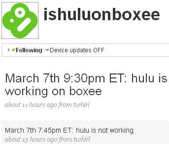 Track When Hulu is Working on Boxee
