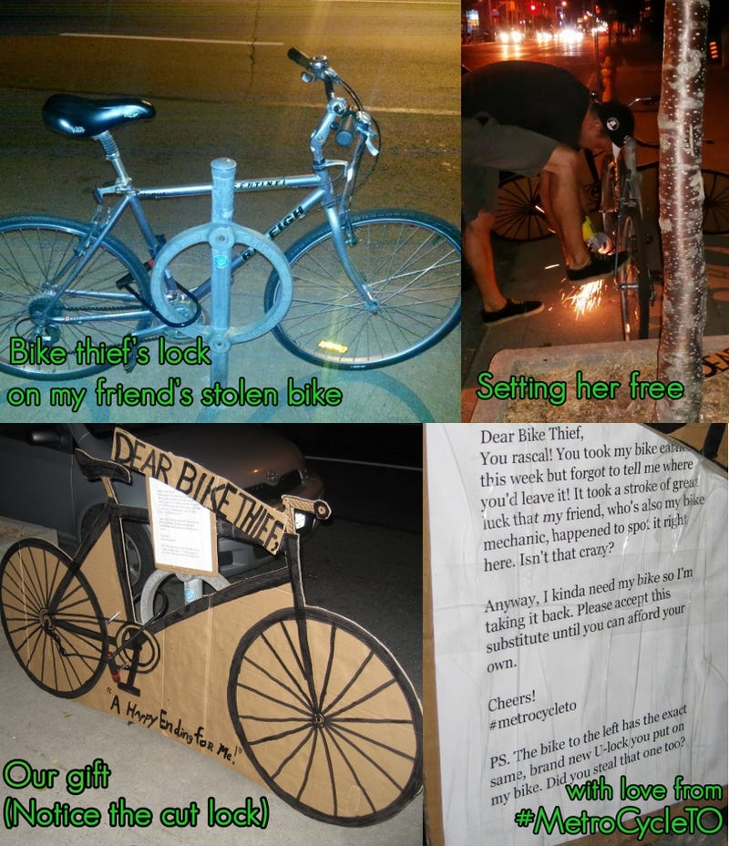 Man Reclaims Stolen Bike from Thief, Replaces It with Drawing of a Bike