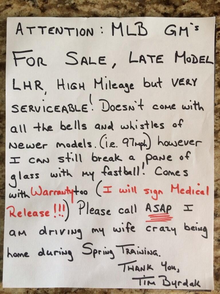 "Tim Byrdak Posts Handwritten ""Reliever For Sale"" Ad"