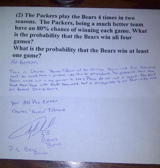 "Charles ""Peanut"" Tillman Scornfully Responds To Local Teacher's Anti-Bears Math Homework"