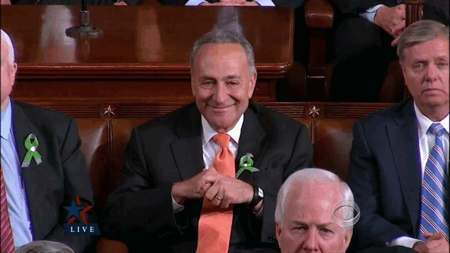 Here's a Hypnotic GIF of Chuck Schumer Nodding Creepily at the State of the Union