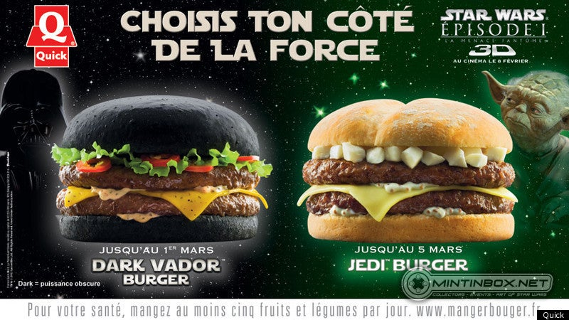French fast food chain offers Darth Vader burger with black Dark Side bun