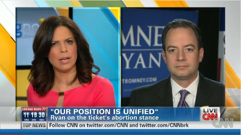 RNC Chair Tells Soledad O'Brien That Romney's Abortion Position is Consistent, Soledad Laughs and Laughs