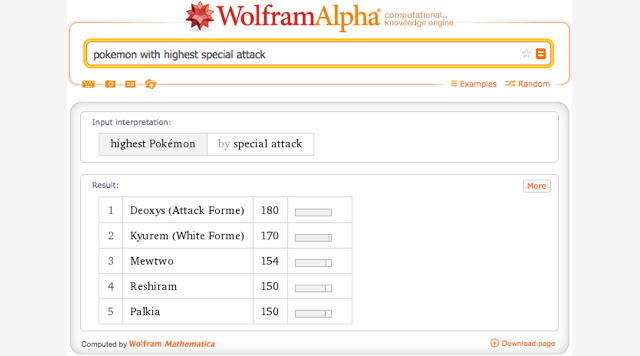You can now search WolframAlpha for your favorite Pokémon characters