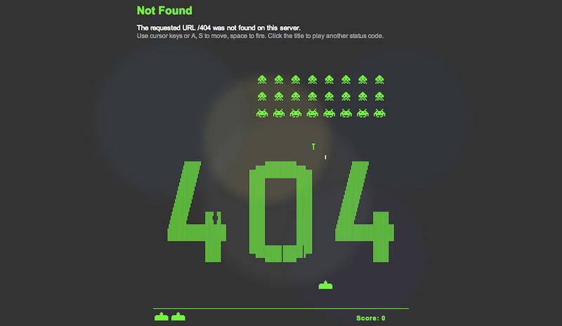 La mejor página de Error 404 te deja jugar al Space Invaders