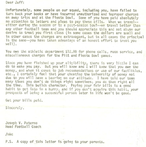 "Read Joe Paterno's Disapproving Letter To A Player Who ""Cheated"" Penn State Out Of $12.99"