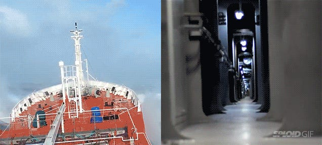 Watch a large ship getting deformed from the inside in a heavy storm