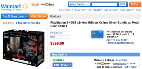 """Exclusive"" MGS4 ""Limited"" Edition PS3 Winds Up At Walmart For $399"
