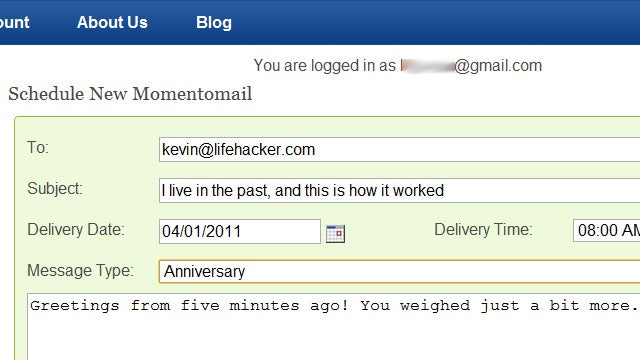 Momentomail Sends Messages from Gmail or Yahoo Accounts In the Future