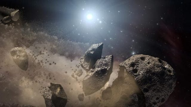 The collision that created Earth's Moon is reenacted around an alien star