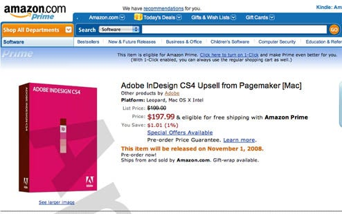 Amazon Tells All About Adobe InDesign CS4 By Accident