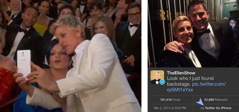 Ellen DeGeneres used an iPhone backstage instead of that Samsung