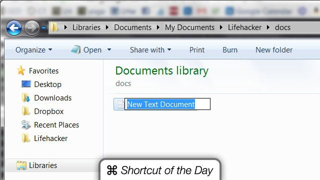 Quickly Create a New Text Document Anywhere with the Right-Click > W > T Shortcut