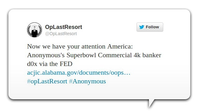Anonymous Leaked Account Data for 4,000 Bank Executives on a Government Website