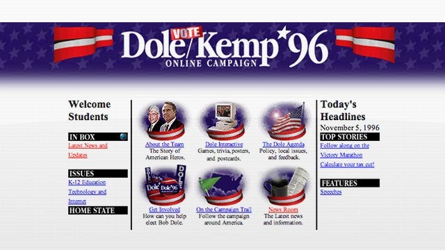 Bob Dole's Sad 1996 Campaign Website Is Still Online