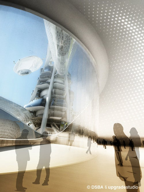 "Tower will feature ""floating observatories"" held up by helium balloons and an electro-magnetic field"