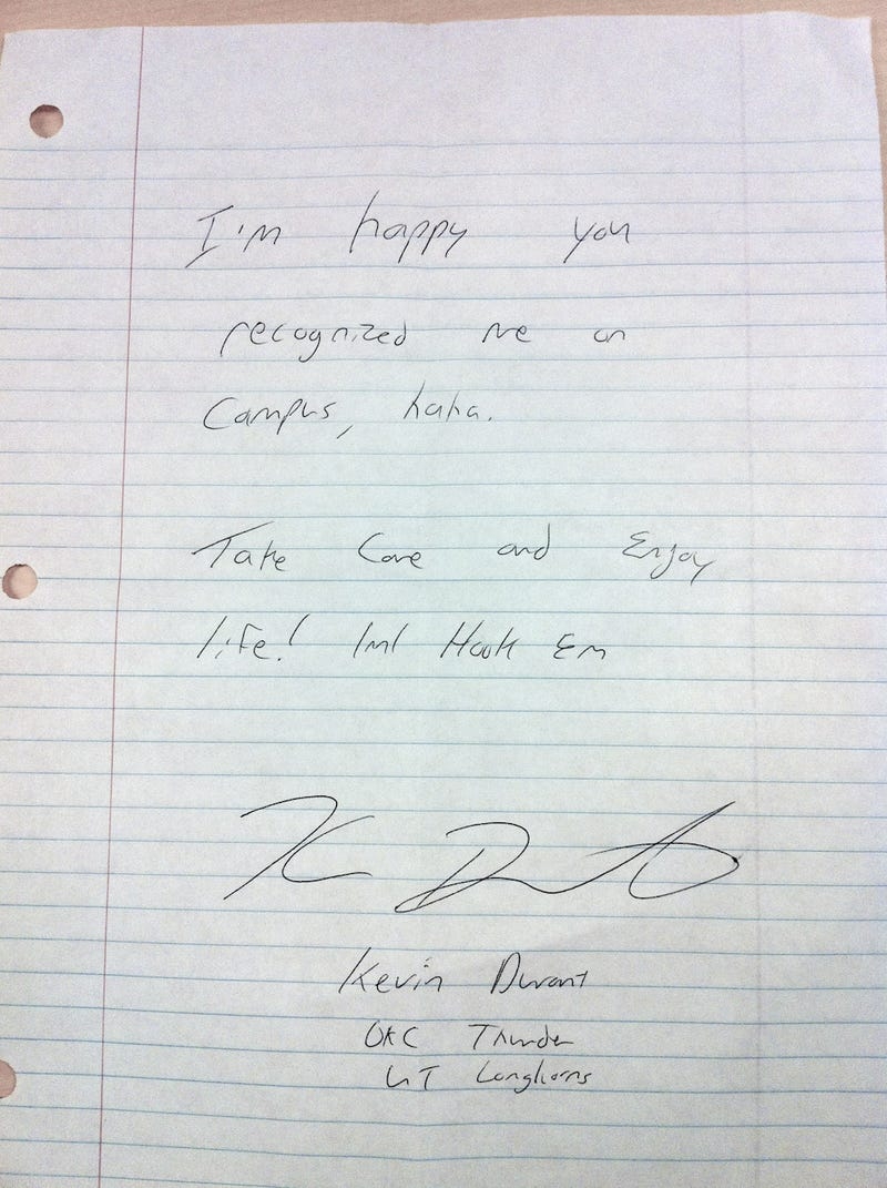 How Did This Personalized Note From Kevin Durant End Up On The Floor Of A University Of Texas Bathroom?