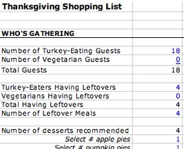 Thanksgiving grocery shopping calculator