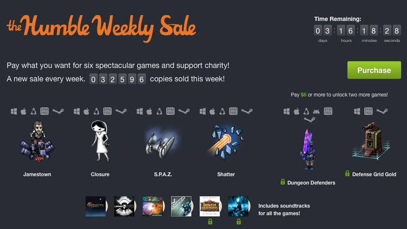New Humble Weekly Bundle Featuring Jamestown, Closure, Shatter