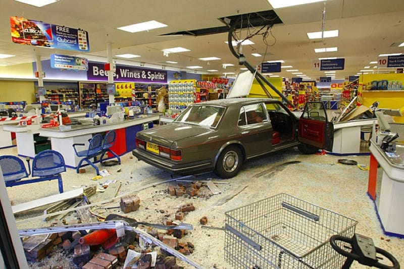 Rolls-Royce Crashes Into UK Supermarket