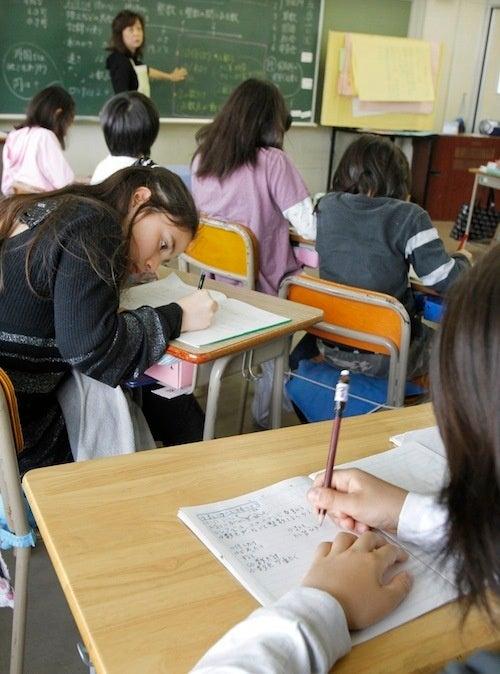 Japanese Children Subjected To Teachers, Chalkboards, Note-Taking