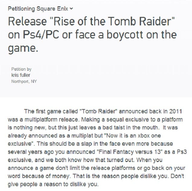 People Are Pissed That Tomb Raider Is An Xbox Exclusive
