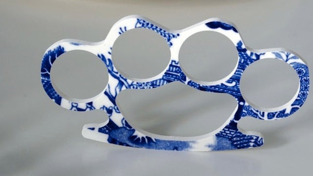 Brass Knuckles Made from Fine China