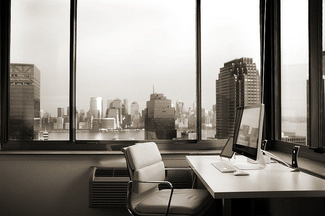 Musing Over Manhattan: A Minimalist Workspace with a View