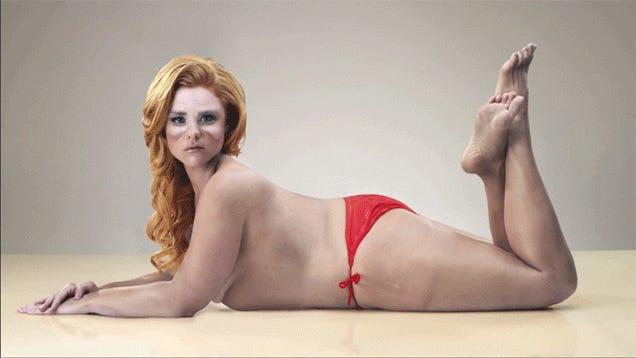 Beautiful woman in bikini turns into Santa Claus in reverse Photoshop