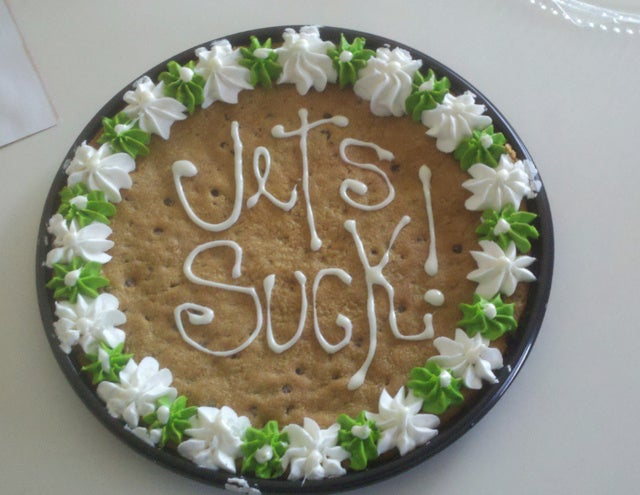 Guy Expresses His Jets Disdain Through Dessert (And More)