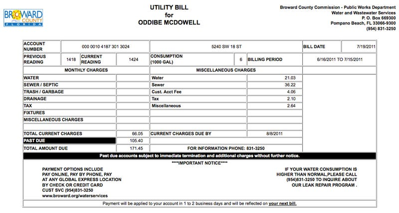 Breaking: Oddibe McDowell's Water Bill Is $171.45, But That's Because He Didn't Pay Last Month's Bill