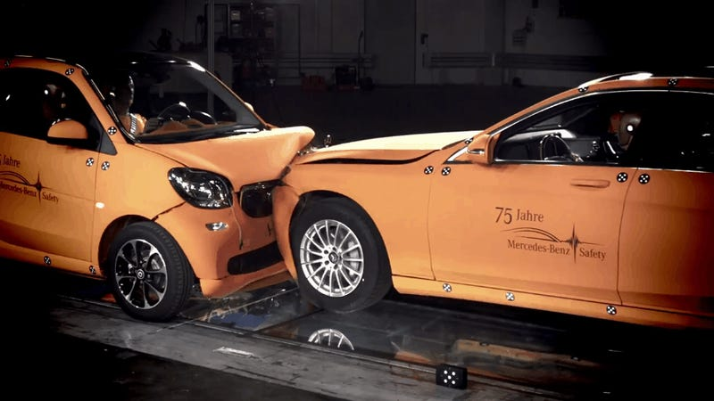 Here's What Happens When You Crash A Smart ForTwo Into An S-Class