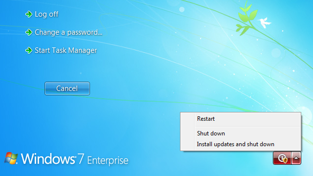 Trick Windows Into Shutting Down Without Installing Updates