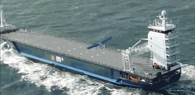Watch this airplane land vertically on a cargo ship