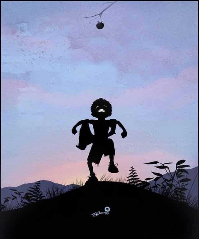 Beautiful superhero silhouettes show comic book characters at recess