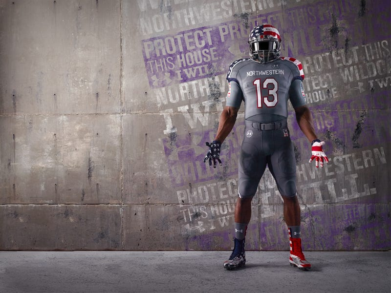 "Northwestern's Very Literal ""Wounded Warrior"" Unis Have Blood Spatters"