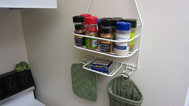 Repurpose a Shower Caddy Into a Kitchen Spice Rack