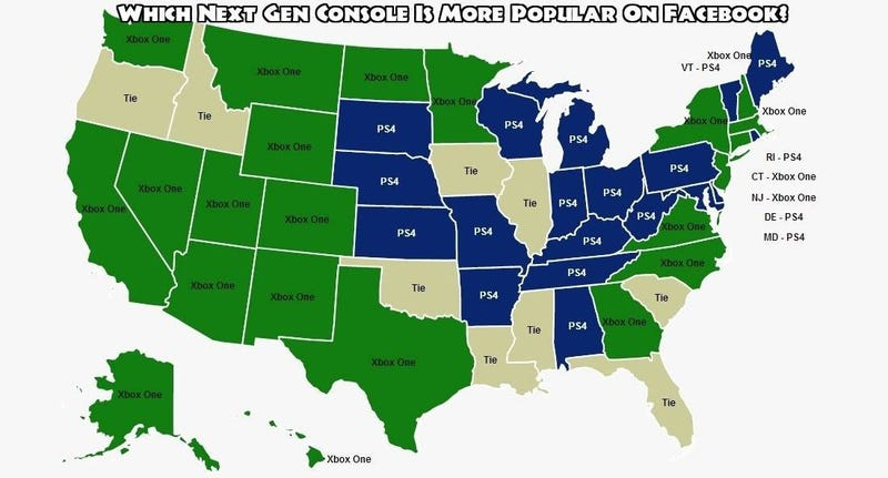 A Map That Shows Which States Are Xbox One and Which Are PS4