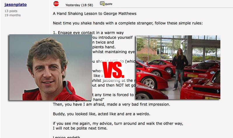"Race Car Driver Schools ""Weirdo"" Fan-Boy On Car Forum"