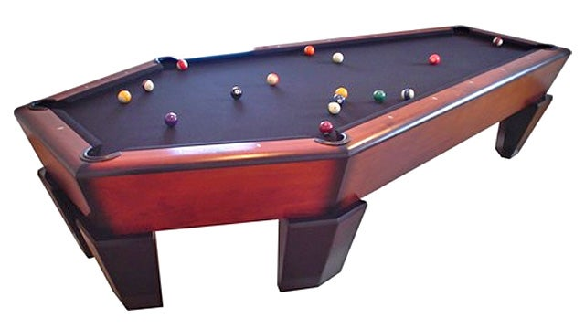 There Are Grave Consequences To Sinking the Cue Ball On This Coffin Pool Table