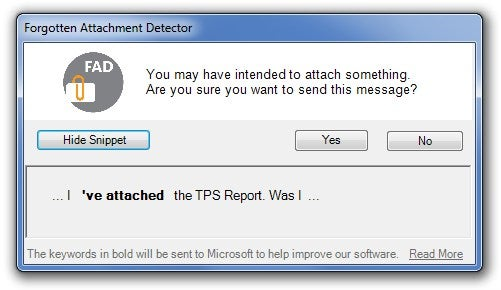 Forgotten Attachment Detector Reminds You to Attach that File