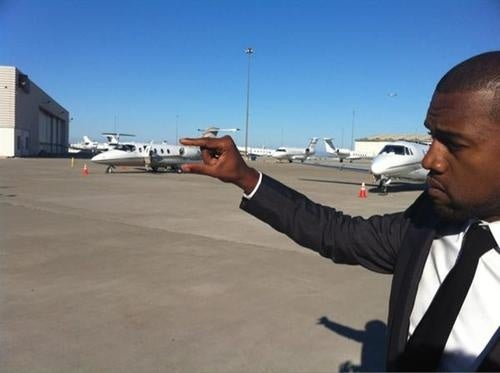 Kanye West Does Stupid Photo Tricks Too—Only With His Private Jet