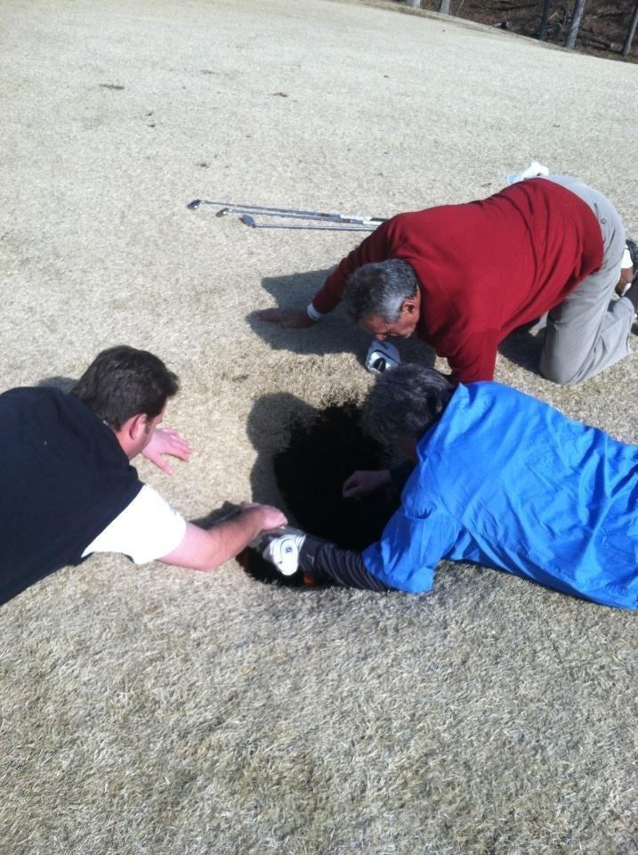 Golfer Falls Down 18-Foot Sinkhole On Fairway